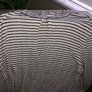 Striped long sleeve keyhole shirt